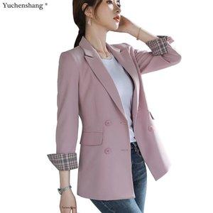 Les femmes Bouble boutonnage Les blazers Coat solides Blazer femmes Vêtements d'extérieur de haute qualité Vestes 5XL Rose Abricot Vert Noir 201009