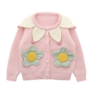 2021 New Fall Petal Collar Toddler Baby Girls Cardigan Sweaters Knitted Flowers Appliques Chidlren Outwear Kids Coat 1-5y S9eo