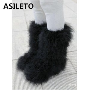 ASILETO Winter Boots women Real hairy Ostrich Feather furry Fur flats plush ski outdoor eskimo boots fluffy shoes bootie T553 201020