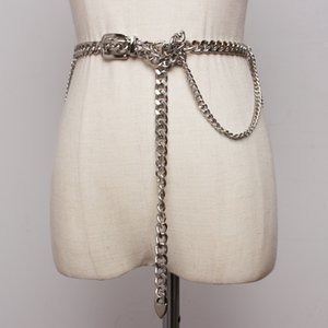 Women chain belt fashion 2020 pants streetwear belts ladise waistband gold color club punk belts T200427