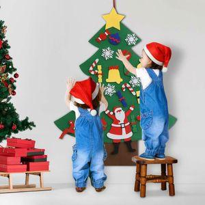Kids DIY Felt Christmas Tree Wall Hanging Ornamentsfor Home New Year Gifts Toys Handmade Christmas Santa Claus Decor 201023