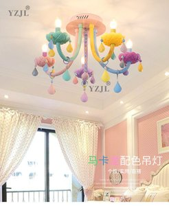 color crystal ceiling chandelier lamp bedroom lamp chandelier children's Faka american girl princess soft home chandelier crystal lighting.
