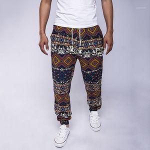 Loozykit New National Style Men Pantalones largos cordones sueltos Pantalones casuales Hombres Personal Jogger Pantalones Ocio Print1