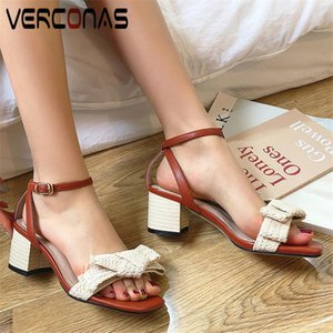 VERCONAS Women Butterfly Knot Lace Up Genuine Leather Sandals Cross-Tied Thick Heels Classic Shoes Summer Concise Shoes Woman