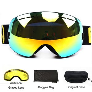 Benice ski goggles double layers UV400 anti-fog spherical ski mirror glasses skiing men women snow goggles 3100+Lens Case Set Q0107