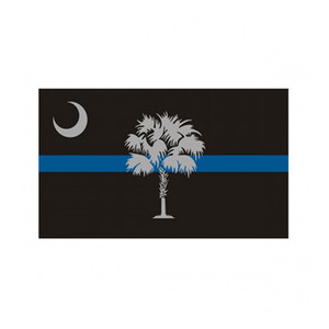 South Carolina State Flag Thin Blue Line Flag 3x5 FT Police Banner 90x150cm Festival Gift 100D Polyester Indoor Outdoor Printed Flag