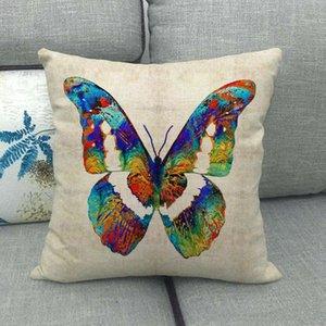 Прекрасная бабочка напечатанная подушка крышки дома декоративные подушки чехлы 45x45см льняное сиденье заднее постельное белье декор наволочки VTKY2080