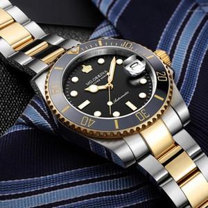 MGORKINA MG Erkekler Saatler Otomatik Siyah İzle Erkekler Paslanmaz Çelik Su Geçirmez İş Spor Mekanik Saat Yemeği1