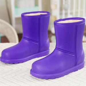 Winter waterproof warm Rubbe snow boots women outdoor thicken velvet Rainboots EVA non slip Wear-Resistant platform work shoes 1026
