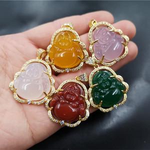 Venta al por mayor de alta calidad S925 plateado plateado maitreya ágate incrustaciones colorido jade buddha colgante collar para las mujeres