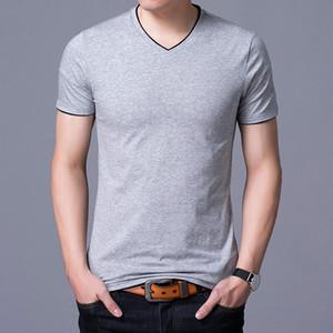 2021 Brand New Summer T-Shirt Mens Solid Short-Sleeved Leisure T Shirt For Male Bottom V-Collar Youth TShirt