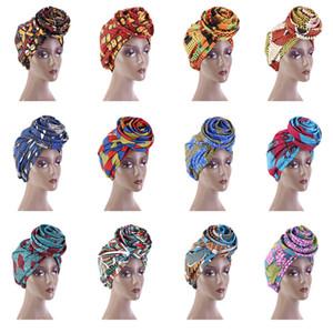 Afrikanische Druck Frauen Headwear Cap Stretch Bandana Head Wrap Langer Schal Satin Floral Ankara Dashiki Party Turban Hair Zubehör