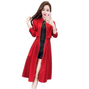 2021 new spring summer trench coat for women fashion waist slim slimming wild medium long windbreaker coat popular women's tide
