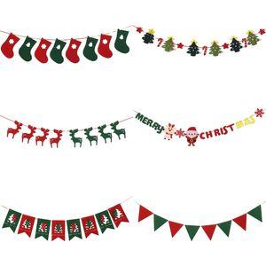 Christmas Felt Flag DIY Garlands Xmas Elk Sock Flags Bunting Merry Christmas Wedding Party Baby Shower Ceiling Decoration