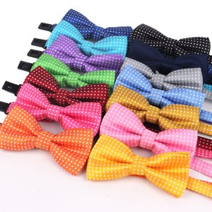 NEW Dots Дети Боути Мода Neckwear Регулируемый мужской галстук для мальчика и девочки Полиэстер Pre-Tied