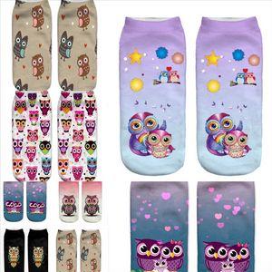 GTJSD Niedrige Mode Männer Farbe Socken Eule Best Casual Bambus Faser Socke Baumwolle Kurze Tier Drucken Socken Männer Boot Geschenksocken Neuer Preis