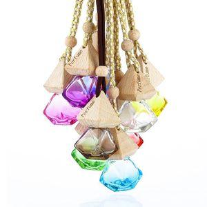 Car Perfume Bottle Pendant Essential Oil Diffuser 9 Colors Ornaments Air Freshener Pendant Empty Perfume Glass Bottle Gift T2I51665
