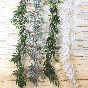 Inicio Decoración de la boda flores colgantes calamus hoja de la hiedra de hoja perenne de la guirnalda de la vid plantas artificiales plantas verdes Rattan 1,65 M EWF2742