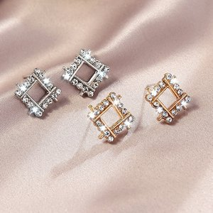2020 S925 silver needle Dongguomen wild square diamond earrings earrings fashion chic ladies style
