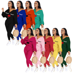 Women Tracksuits 2 Pieces Set Solid Color Mandy Classic Lip Printed V-neck Bat Sleeve Top Trousers Ladies Fashion Autumn Winter Sportwear L2
