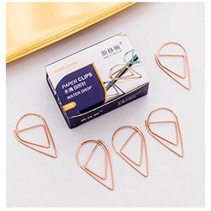 1 set = 10 pezzi di plastica forma di goccia di forma clip oro argento oro colore divertente kawaii bookmark office shool cancelleria marcatura clip ewf2828