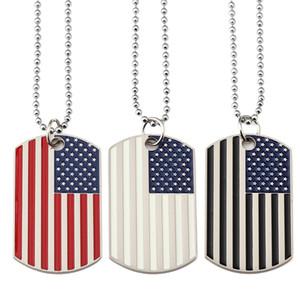 Nuevo nuevo chapado en oro acero inoxidable Etiqueta militar Etiqueta de moda EE.UU. símbolo americano bandera colgantes collares para hombres / mujeres joyería lls720 151 m2