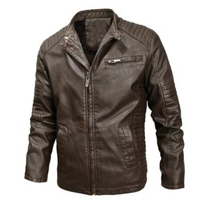 New Jacket Men Motorcycle Jackets Autumn Casual Biker PU Leather Coats Slim Fit Mens Brand Clothing J6T773