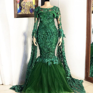 Green Floral Appliques Mermaid Evening Dresses Scoop Neck Long Sleeve Beaded Sweep Trian Evening Gowns Prom Dress