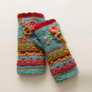 Gants sans doigts Womens hiver chauds décontractés fleurs de fleurs de fleurs de bricoleurs de mitaines mitaines bras main bras chaud fingerle