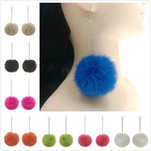 18 colori Hot Pompon Polfall Ball Dangle Orecchino Orecchini a goccia rotondi lanuginosi lunghe tassel Brinco Ear Drops orecchino gioielli moda per le donne