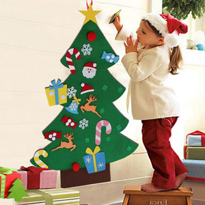 New Year Kid Toy Xmas Gifts Wall Christmas Decoration Diy Felt Christmas Tree with 26pcs Ornament