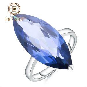 Ballet Gem 11.45Ct Marquise naturel Iolite bleu quartz mystique des pierres précieuses Bague argent 925 anneaux pour Femme Fine Jewelry