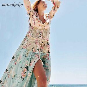 Movokaka Boho Dress Floral Dress Donne Manica lunga Sping Summer Beach Maxi Dress Elegante Plus Size Abiti Party Dress Dress Pulsante LJ200818