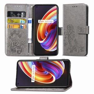 Casse del telefono di protezione per il cuoio OPPO Realme X7-Pro PU Covers modello di Lucky Four Leaf Clover con cinghia da polso (Modello: REALMEX7PRO)
