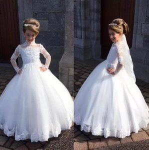 White Princess Lace Ball Gown Kids TUTU Flower Girl Dresses Long Sleeve Party Prom Princess Bridesmaid Wedding Formal Occasion Dres