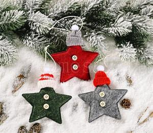 Fournitures de décoration de Noël Casquette tricotée Centre à cinq branches Star Petite pendentif créatif Nouveau Pendentif Arbre Cinq étoiles rouge DB150