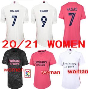 2020 2021 Real Madrid Home Away Woman Home # 7 Hazard Soccer Jersey 2019 مدريد Asensio ISCO Kroos Marcelo فتاة كرة القدم قميص موحدة