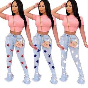Stella modello Womens foro Jeans Primavera Autunno vita alta Flare Slim sexy delle donne pantaloni casual Figura intera