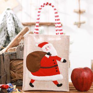 Noel Tuval Üç Boyutlu Işlemeli Tote Çanta Keten Kullanımlık Çocuk Hediye Şeker Saklama Çantası Alışveriş Çantası Noel Dekor EWB2353