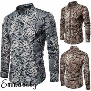 Sexy Snake Pattern Print Slim Fit Рубашка Мужчины новые длинные рукава мужские платья рубашки хип-хоп Streetwear Повседневная рубашка