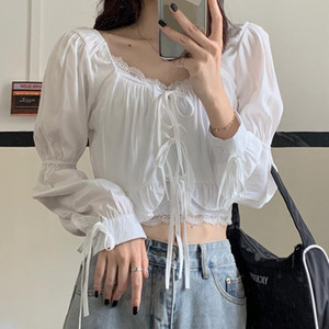 French Vintage Blouse Women Puff Sleeve V-Neck Female Clothing Fashion Korean Style Drawstring Women Shirts 2021 Chiffon Blouses