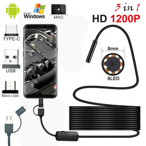 Mini Android PC Typec-C USB HD 1200P Endoscope Camera Semi Rigid Hard Cable Led Light Endoscope Inspection Borescopes