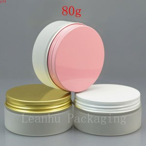 50 x 80g empty PET frosting white cream jar with   pink gold aluminum screw cap 80cc solid perfumes refillable containerhigh qualtit