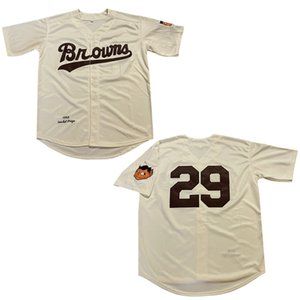 Hombres 1953 Paige Jersey # 29 Browns Beige Baseball Jerseys