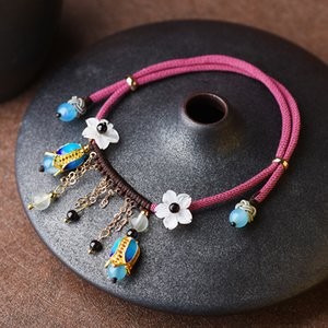 Fashion vintage Anklet red and blue anklet ethnic simple women of spring and summer 2020 new tassel jewelry