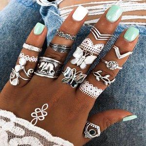 Vintage Stackable Knuckle Rings Set for Women Girls Fashion Bohemian Midi Retro Finger Joint Rings Butterfly Elephant Ring Kimter-K393FA