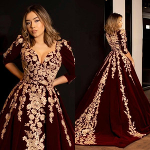 Modest Velvet Evening Dresses V-Neck Gold Appliques Half Sleeves A Line Sweep Train Formal Party Prom Gown Elegant Special Occasion Dress