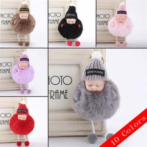 Araba için Moda Yapay Kürk Sevimli Bebek Bebek Anahtarlık Uyku tulumları Pandantifle Peluş Şapka Saç Topu Anahtar zincirleri Takı Süsler
