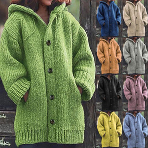 Sweter Damski Kobieta Swetry Women Casual Warm Loose Button Hoodie Knitted Sweater Knitting Jumper Long Tops Blouse Sweater