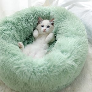Dog Pet Bed Kennel Round Cat Winter Warm Dog House Sleeping Bag Long Plush Super Soft Pet Bed Puppy Cushion Mat Cat Supplies